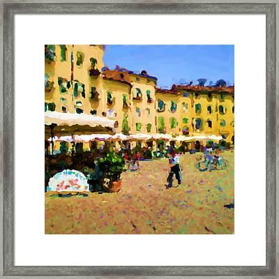 Piazza Amphiteatro Lucca Tuscany Framed Print by Ozborne-Whilliamsson