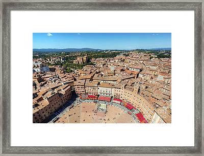 Piazza Del Campo, Campo Square In Siena, Tuscany, Italy Framed Print by Michal Bednarek