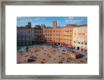 Piazza Del Campo Siena Italy Framed Print by Joan Carroll
