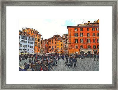 Piazza Della Rotunda In Rome 2 Framed Print by Jen White
