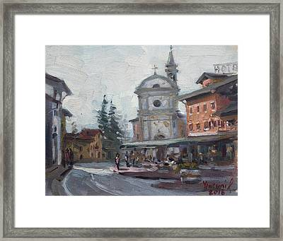 Piazza Di Limana Framed Print by Ylli Haruni
