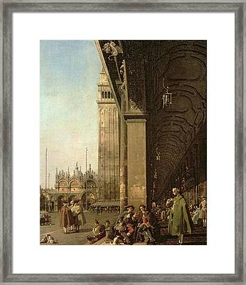 Piazza Di San Marco And The Colonnade Of The Procuratie Nuove Framed Print by Canaletto