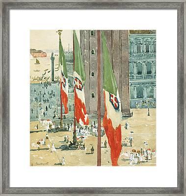 Piazza Di San Marco Framed Print by Maurice Brazil Prendergast