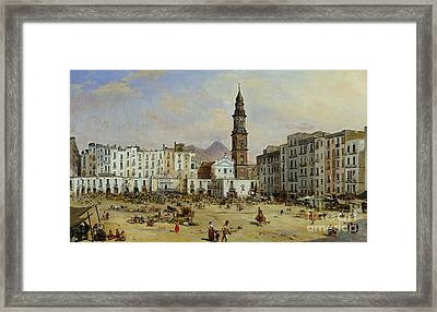 Piazza Mazaniello In Naples Framed Print by Jean Auguste Bard