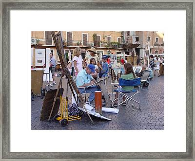 Piazza Navona Framed Print by Angel Ortiz