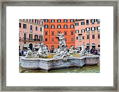 Piazza Navona Fountain Framed Print by Frozen in Time Fine Art Photography
