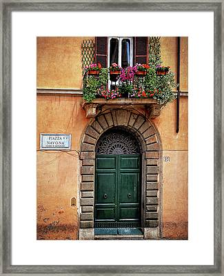 Framed Print featuring the photograph Piazza Navona House by Marion McCristall