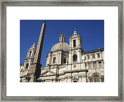 Piazza Navona. Navona Place. Church St. Angnese In Agona And Egyptian Obelisk. Rome Framed Print by Bernard Jaubert