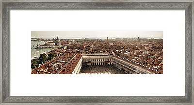 Framed Print featuring the photograph Piazza San Marco Bell Tower Panorama View by Songquan Deng