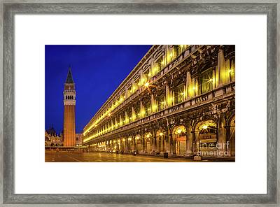 Piazza San Marco By Night Framed Print by Inge Johnsson