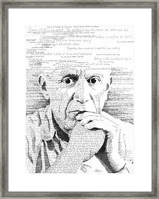 Picasso In His Own Words Framed Print by Phil Vance