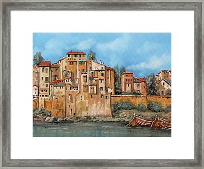 Piccole Case Sul Fiume Framed Print by Guido Borelli