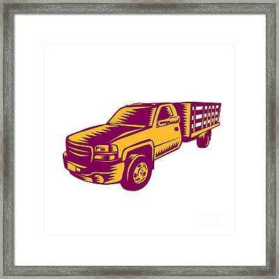 Pick-up Truck Woodcut Framed Print by Aloysius Patrimonio