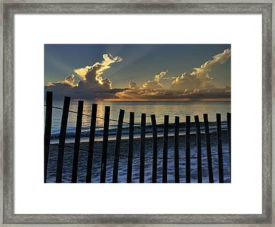 Picket Fence On The Beach Framed Print