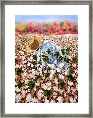 Picking Cotton Framed Print by Barbel Amos