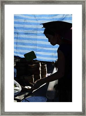 Picking Fish In The Market Framed Print