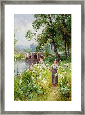 Picking Flowers By The River Framed Print by Ernest Walbourn