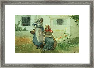 Picking Flowers Framed Print by Winslow Homer