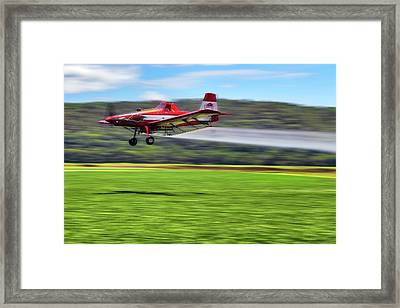 Framed Print featuring the photograph Picking It Up And Putting It Down - Crop Duster - Arkansas Razorbacks by Jason Politte