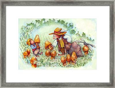 Picking Mushrooms Framed Print by Peggy Wilson