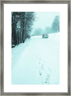 Pickup Truck Driving Through A Blizzard Snowstorm Framed Print by Edward Fielding