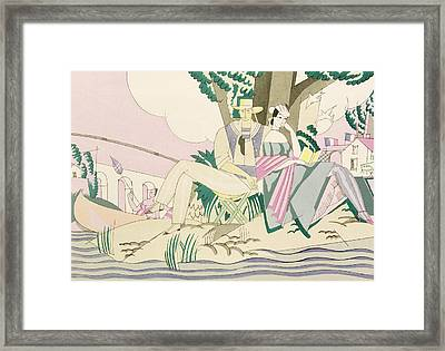 Picnic And Fishing Scene Framed Print by Charles Martin