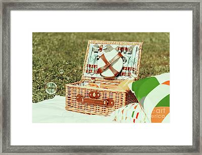 Picnic Basket Food On White Blanket With Pillows And Soap Bubbles Framed Print