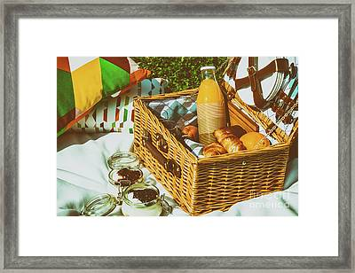 Picnic Basket With Fruits, Orange Juice, Croissants And No Bake Blueberry And Strawberry Jam Framed Print by Radu Bercan