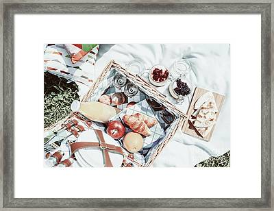 Picnic Basket With Fruits, Orange Juice, Croissants, Quesadilla And No Bake Blueberry And Strawberry Framed Print by Radu Bercan