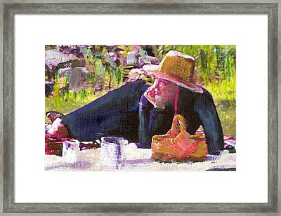 Picnic By The Lake With Laurel  Framed Print by Randy Sprout