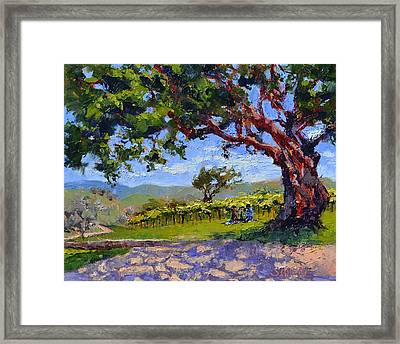 Picnic In The Vineyard Framed Print by Lynee Sapere