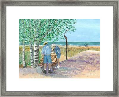 Picnic On Lake Huron - Painting Framed Print by Veronica Rickard