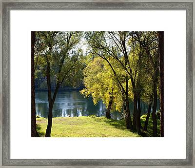 Framed Print featuring the photograph Picnic Spot On Spokane River by Ben Upham III