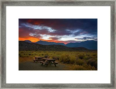 Picnic Tables At Sunset Framed Print by Ralph Vazquez