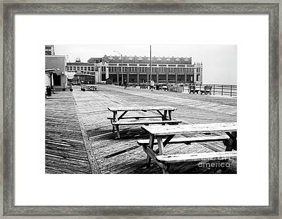 Picnic Tables On The Boardwalk Framed Print