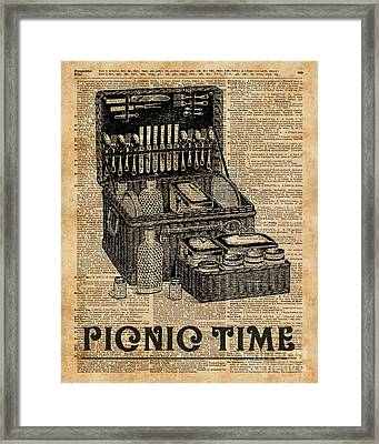 Picnic Time Vintage Illustration Dictionary Book Page Art Framed Print by Jacob Kuch