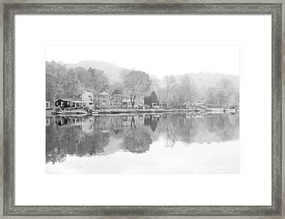 Picturesque Autumn In Bw Framed Print