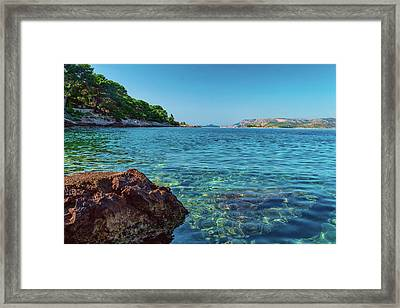 Picturesque Croatia Offers Tourists Pristine Beaches Of The Adriatic, Surrounded By Pine Trees And R Framed Print