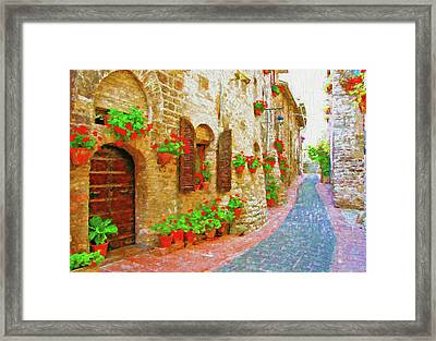 Picturesque Lane With Flowers In An Italian Hill Town Framed Print