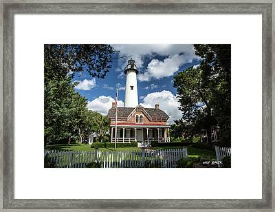 Picturesque St. Simons Lighthouse Framed Print by Walt Baker