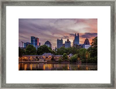 Framed Print featuring the photograph Piedmont Park Midtown Atlanta Sunset Art by Reid Callaway