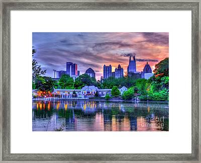 Piedmont Park Sunset Reflections Art Framed Print