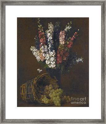 Pieds Dalouette Et Raisins Blancs Framed Print by MotionAge Designs