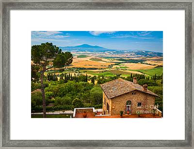 Pienza Landscape Framed Print by Inge Johnsson