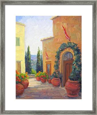 Pienza Passage Framed Print by Bunny Oliver