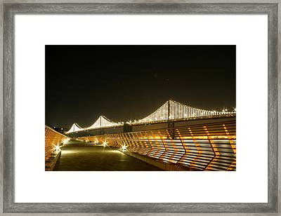 Pier 14 And Bay Bridge Lights Framed Print