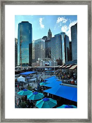 Pier 17 Blue Tops Framed Print by Laura DAddona