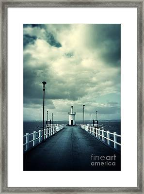 Pier And Lighthouse Framed Print
