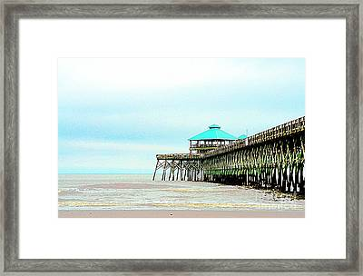 Pier At Folly Beach Framed Print by Kathleen Struckle