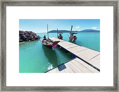 Framed Print featuring the photograph Pier At Khanom by Atiketta Sangasaeng